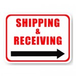 Durastripe Rectangle Sign - Shipping & Receiving (Right Arrow)